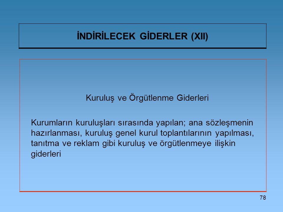 İNDİRİLECEK GİDERLER (XII)