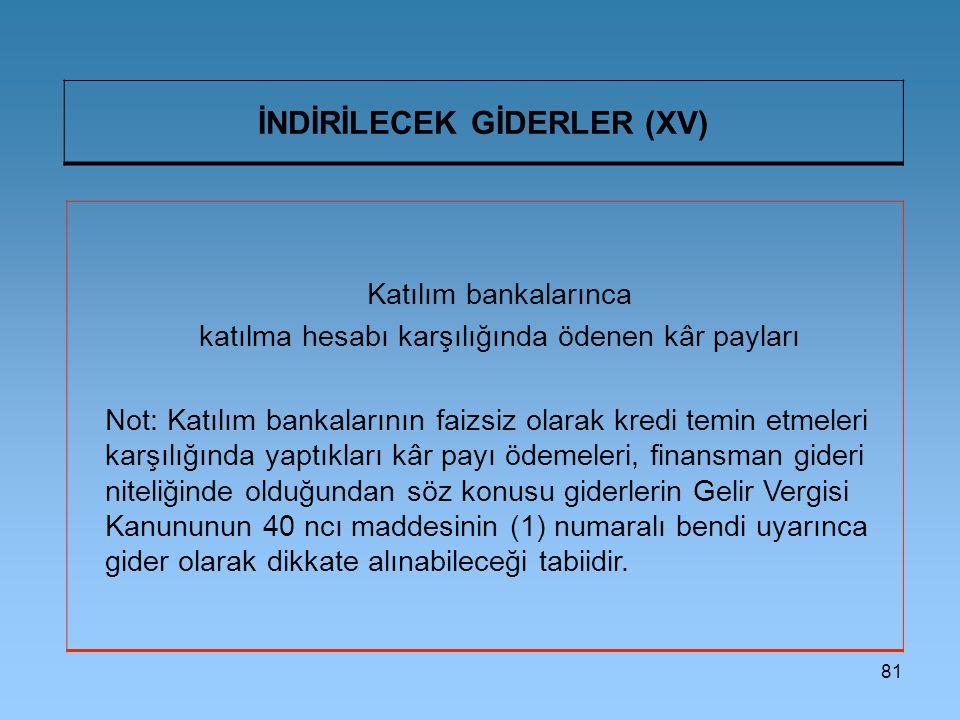 İNDİRİLECEK GİDERLER (XV)
