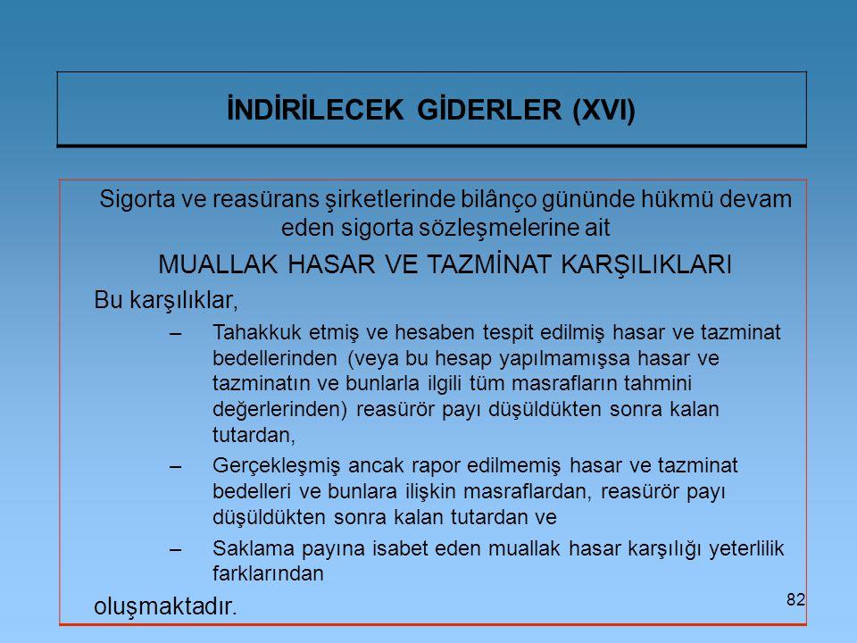 İNDİRİLECEK GİDERLER (XVI)