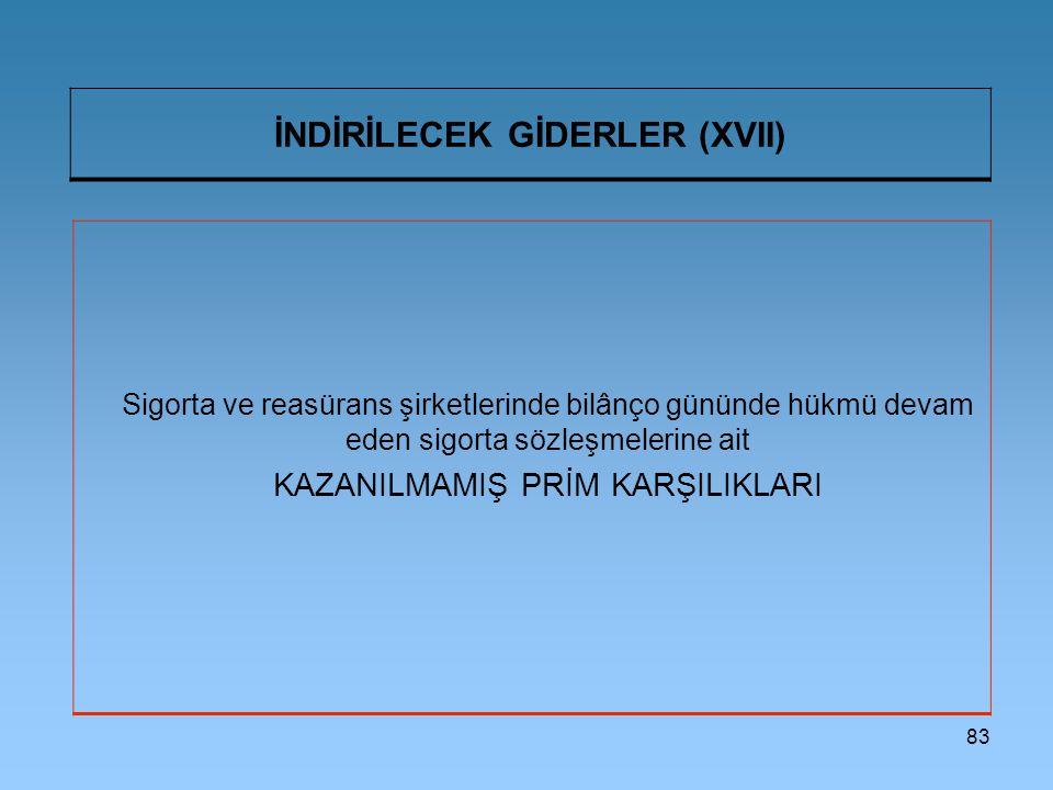 İNDİRİLECEK GİDERLER (XVII)