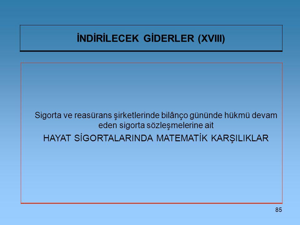 İNDİRİLECEK GİDERLER (XVIII)