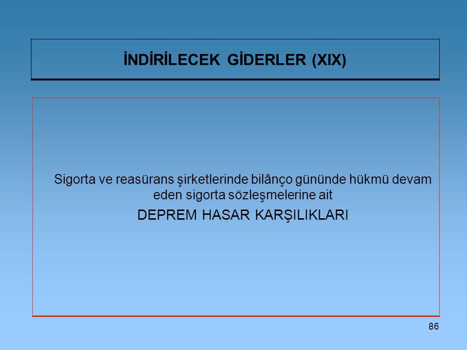 İNDİRİLECEK GİDERLER (XIX)