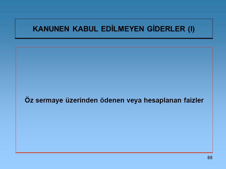 KANUNEN KABUL EDİLMEYEN GİDERLER (I)