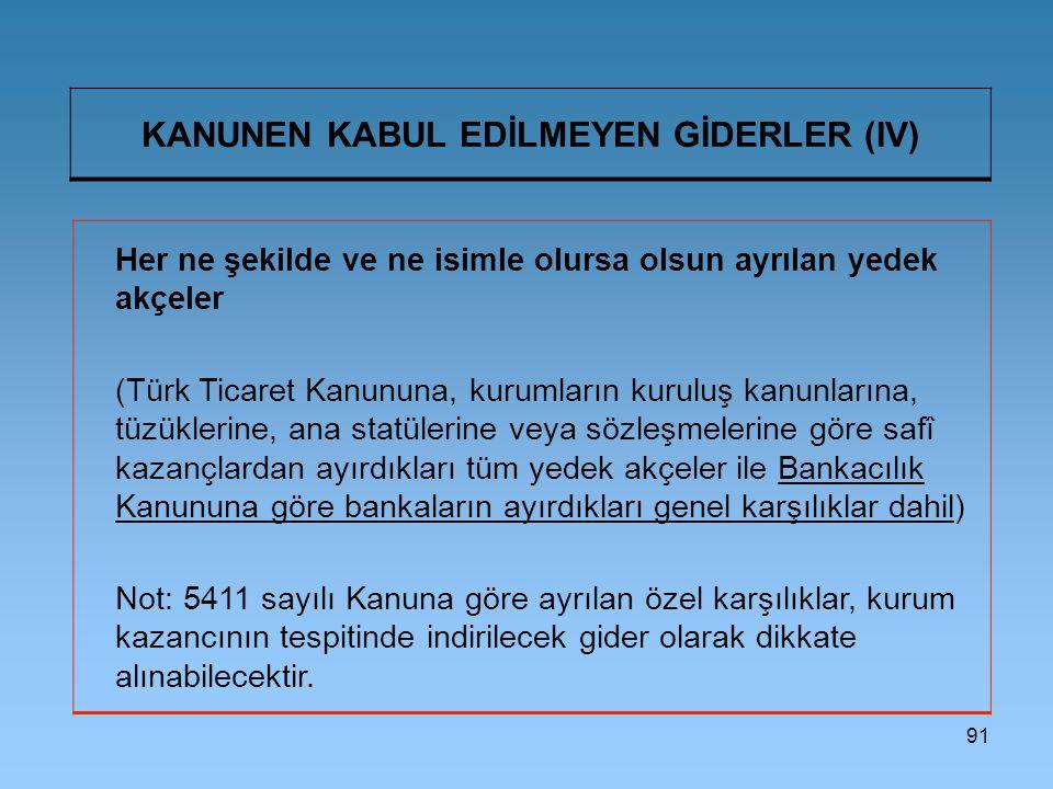 KANUNEN KABUL EDİLMEYEN GİDERLER (IV)