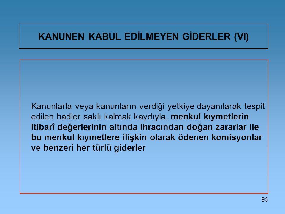KANUNEN KABUL EDİLMEYEN GİDERLER (VI)