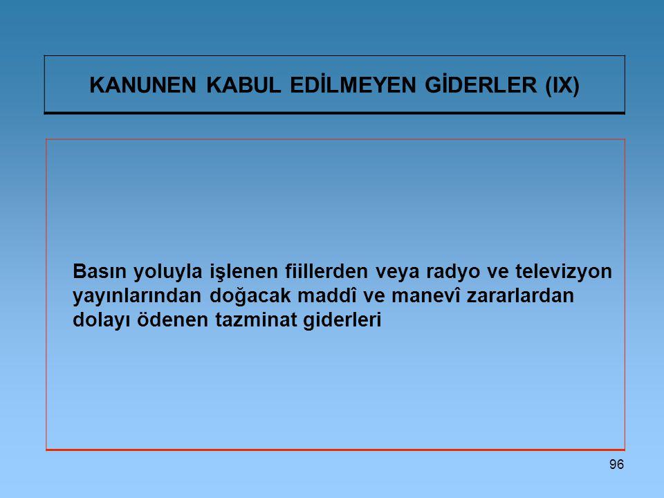 KANUNEN KABUL EDİLMEYEN GİDERLER (IX)