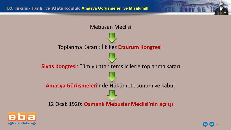 T.C. İnkılap Tarihi ve Atatürkçülük Amasya Görüşmeleri ve Misakımillî