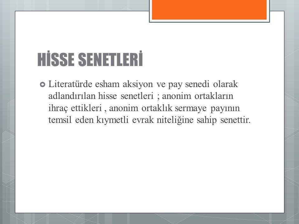 HİSSE SENETLERİ