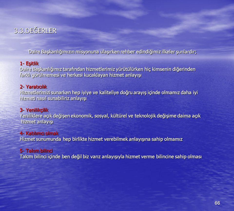 3.3.DEĞERLER Daire Başkanlığımızın misyonuna ulaşırken rehber edindiğimiz ilkeler şunlardır; 1- Eşitlik.