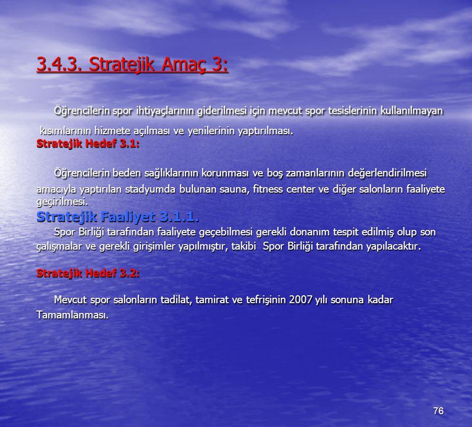 3.4.3. Stratejik Amaç 3: Öğrencilerin spor ihtiyaçlarının giderilmesi için mevcut spor tesislerinin kullanılmayan.