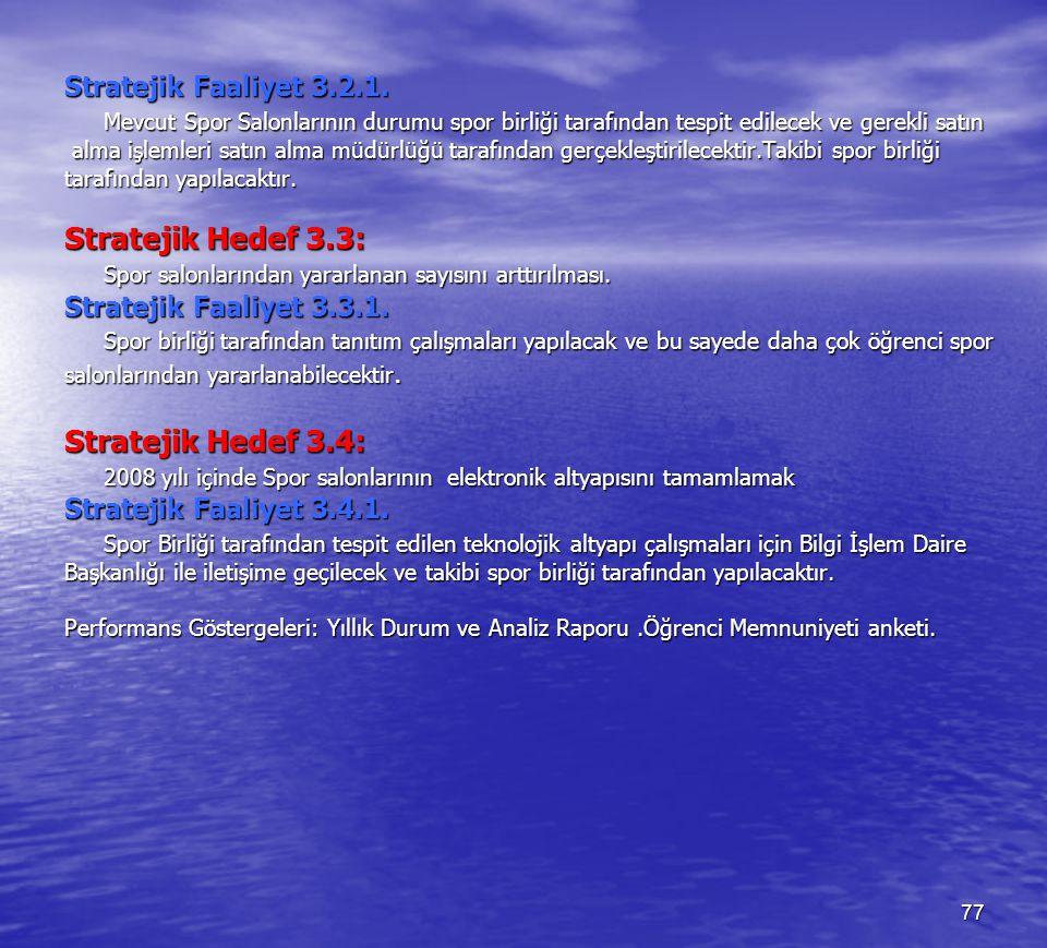 Stratejik Hedef 3.3: Stratejik Hedef 3.4: Stratejik Faaliyet 3.2.1.
