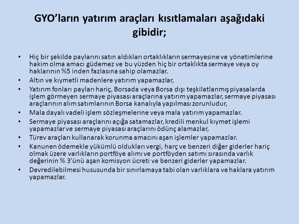GYO'ların yatırım araçları kısıtlamaları aşağıdaki gibidir;