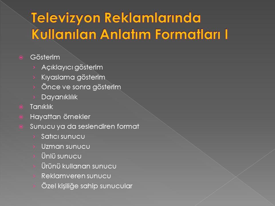 Televizyon Reklamlarında Kullanılan Anlatım Formatları I