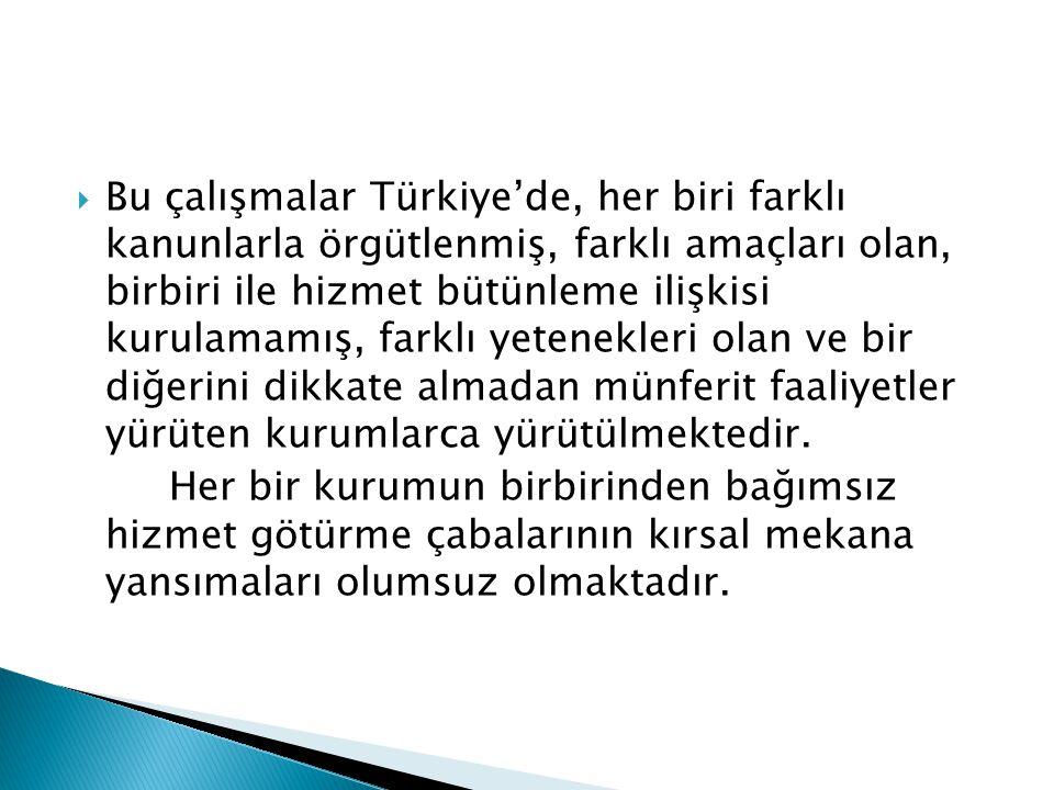 Bu çalışmalar Türkiye'de, her biri farklı kanunlarla örgütlenmiş, farklı amaçları olan, birbiri ile hizmet bütünleme ilişkisi kurulamamış, farklı yetenekleri olan ve bir diğerini dikkate almadan münferit faaliyetler yürüten kurumlarca yürütülmektedir.