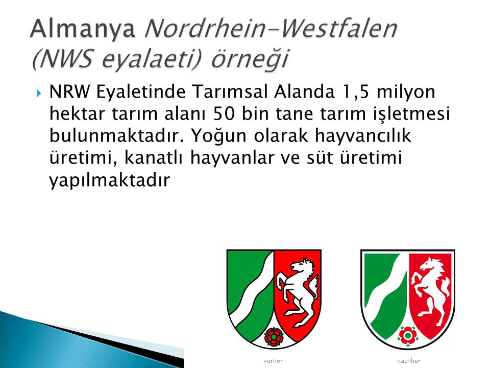 Almanya Nordrhein-Westfalen (NWS eyalaeti) örneği