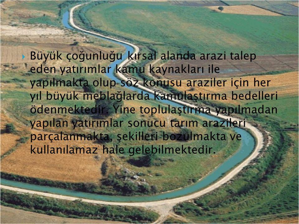 Büyük çoğunluğu kırsal alanda arazi talep eden yatırımlar kamu kaynakları ile yapılmakta olup söz konusu araziler için her yıl büyük meblağlarda kamulaştırma bedelleri ödenmektedir.