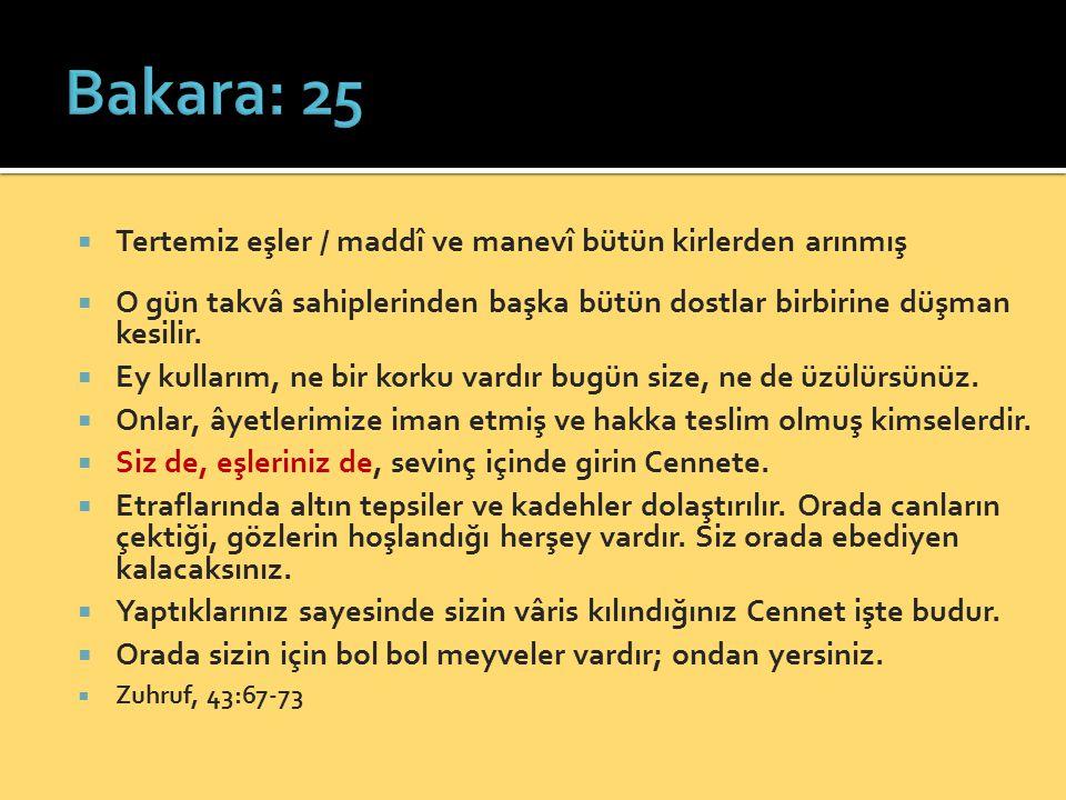Bakara: 25 Tertemiz eşler / maddî ve manevî bütün kirlerden arınmış