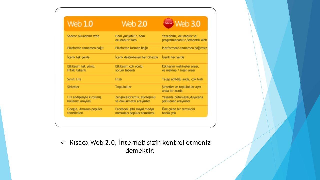 Kısaca Web 2.0, İnterneti sizin kontrol etmeniz demektir.