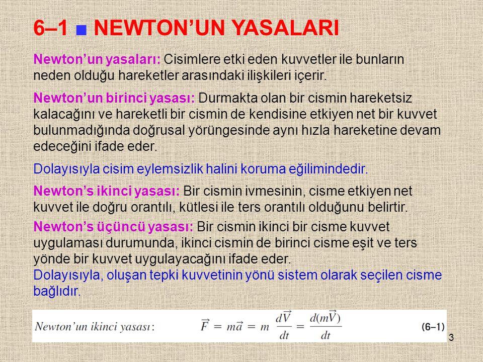 6–1 ■ NEWTON'UN YASALARI Newton'un yasaları: Cisimlere etki eden kuvvetler ile bunların neden olduğu hareketler arasındaki ilişkileri içerir.