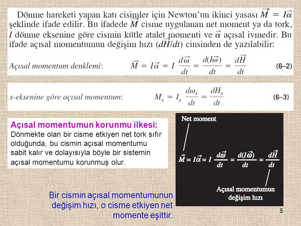 Açısal momentumun korunmu ilkesi: Dönmekte olan bir cisme etkiyen net tork sıfır olduğunda, bu cismin açısal momentumu sabit kalır ve dolayısıyla böyle bir sistemin açısal momentumu korunmuş olur.