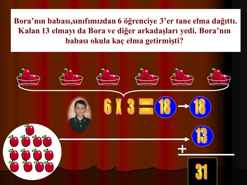 Bora'nın babası,sınıfımızdan 6 öğrenciye 3'er tane elma dağıttı.