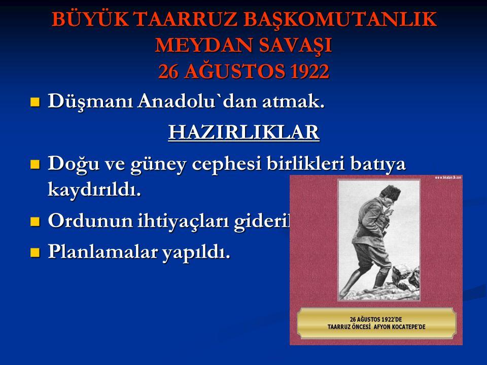 BÜYÜK TAARRUZ BAŞKOMUTANLIK MEYDAN SAVAŞI 26 AĞUSTOS 1922