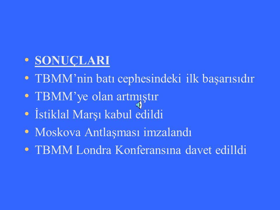 SONUÇLARI TBMM'nin batı cephesindeki ilk başarısıdır. TBMM'ye olan artmıştır. İstiklal Marşı kabul edildi.