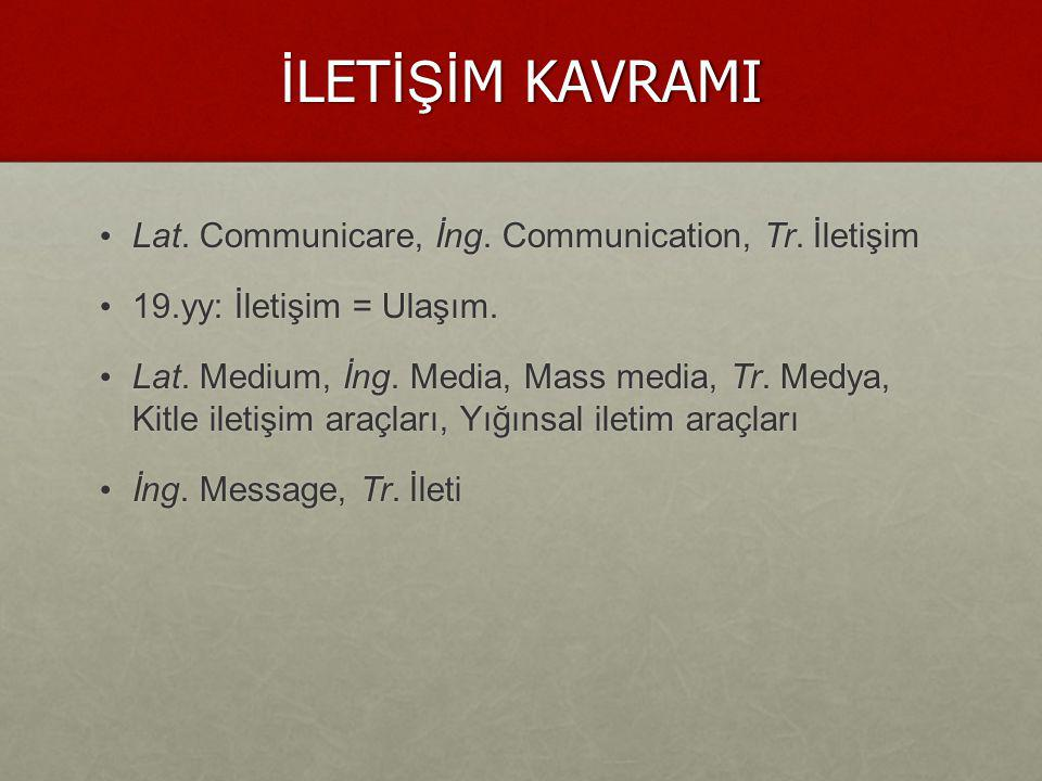 İLETİŞİM KAVRAMI Lat. Communicare, İng. Communication, Tr. İletişim