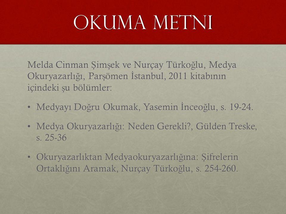 Okuma metni Melda Cinman Şimşek ve Nurçay Türkoğlu, Medya Okuryazarlığı, Parşömen İstanbul, 2011 kitabının içindeki şu bölümler: