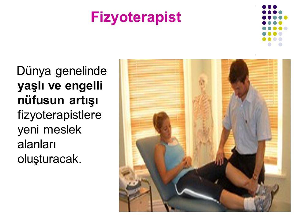 Fizyoterapist Dünya genelinde yaşlı ve engelli nüfusun artışı fizyoterapistlere yeni meslek alanları oluşturacak.