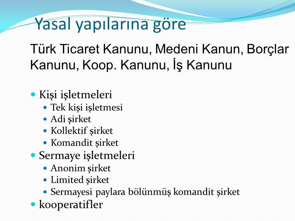 Yasal yapılarına göre Türk Ticaret Kanunu, Medeni Kanun, Borçlar Kanunu, Koop. Kanunu, İş Kanunu. Kişi işletmeleri.