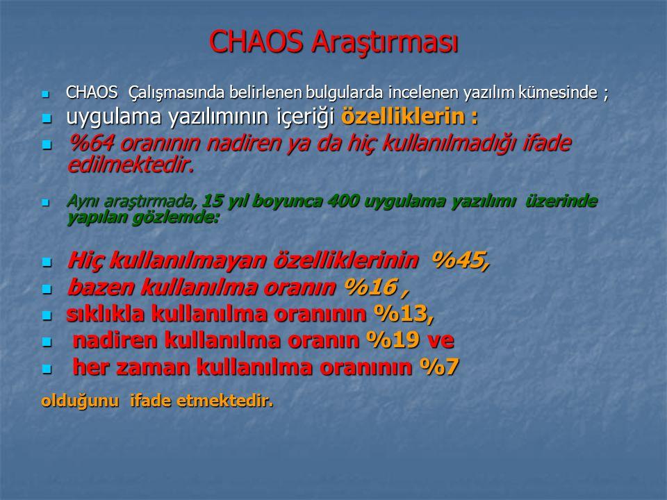 CHAOS Araştırması uygulama yazılımının içeriği özelliklerin :