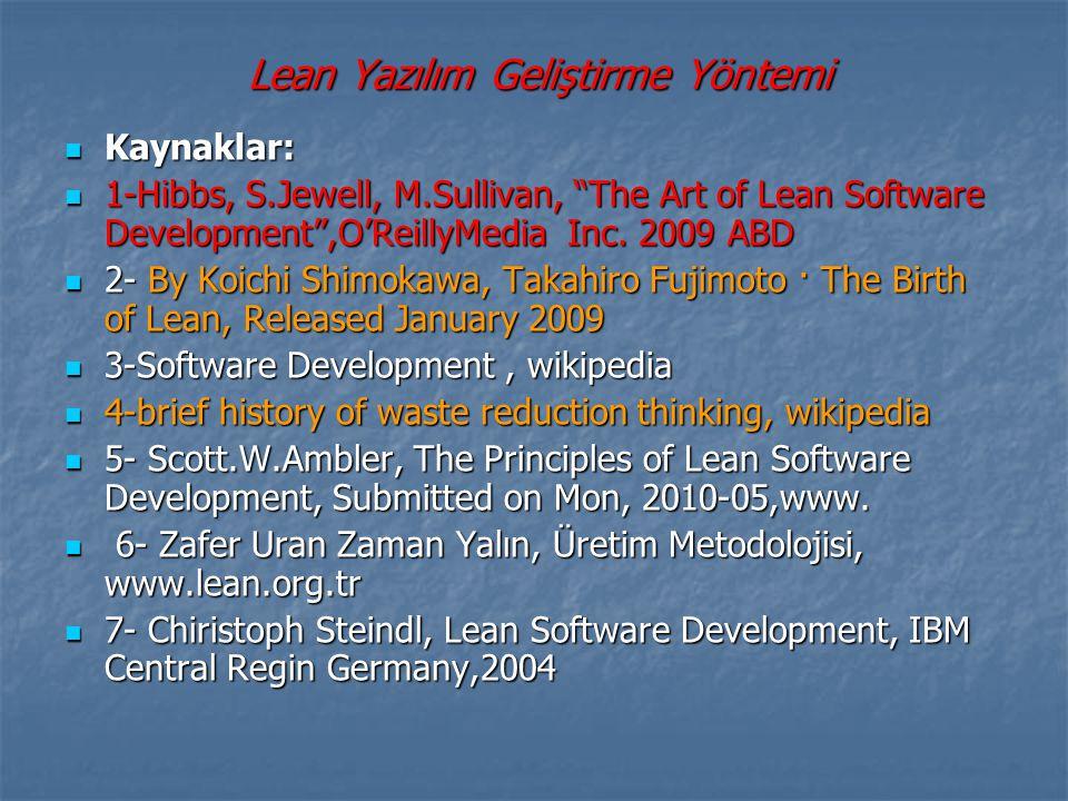 Lean Yazılım Geliştirme Yöntemi