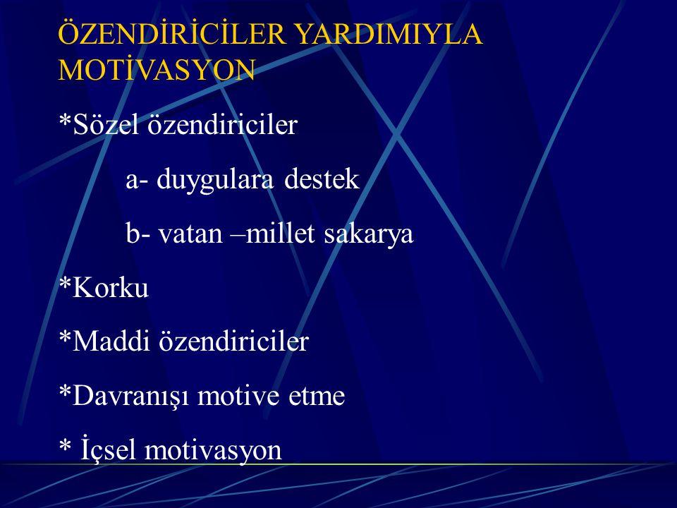 ÖZENDİRİCİLER YARDIMIYLA MOTİVASYON
