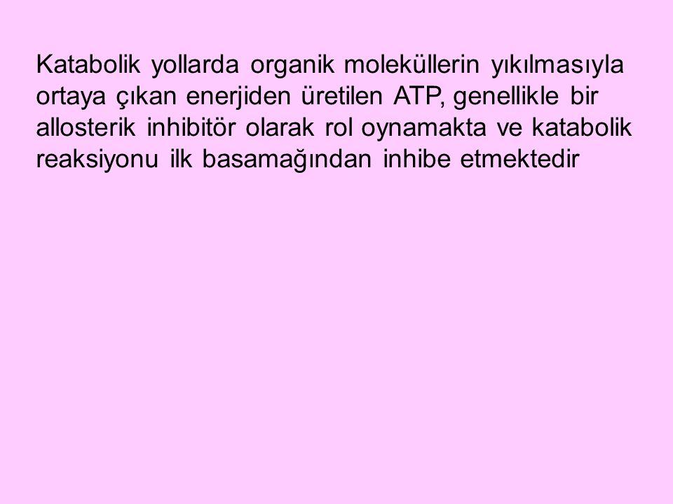 Katabolik yollarda organik moleküllerin yıkılmasıyla ortaya çıkan enerjiden üretilen ATP, genellikle bir allosterik inhibitör olarak rol oynamakta ve katabolik reaksiyonu ilk basamağından inhibe etmektedir