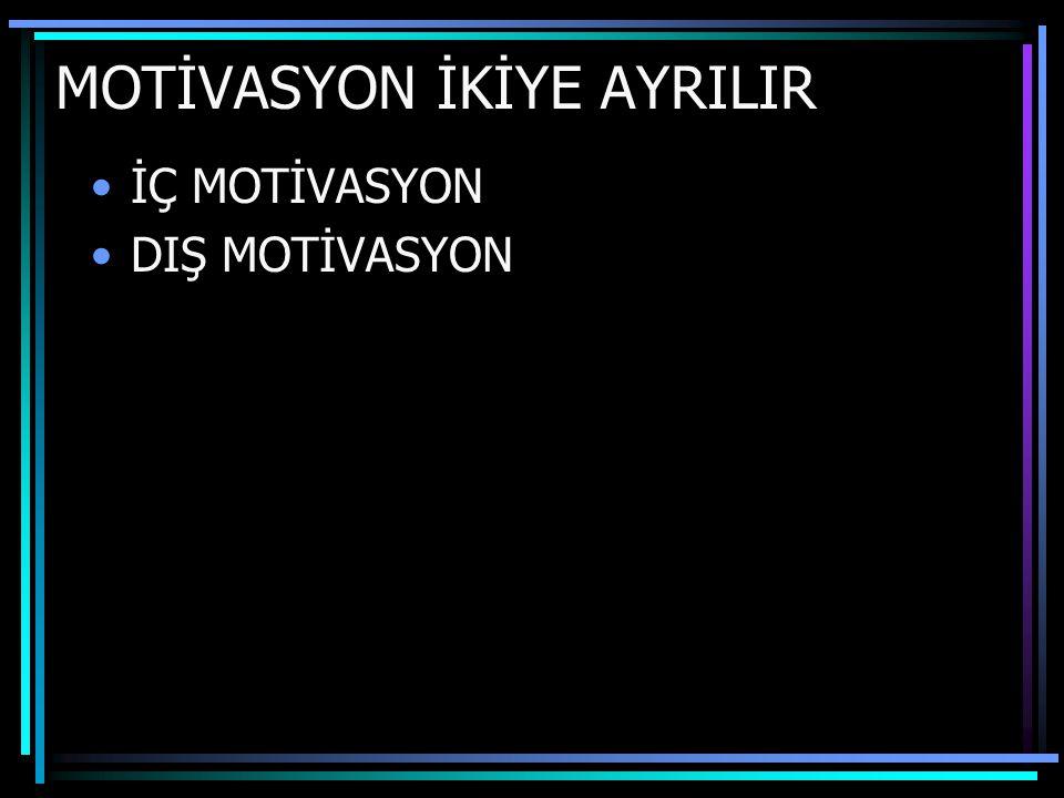 MOTİVASYON İKİYE AYRILIR