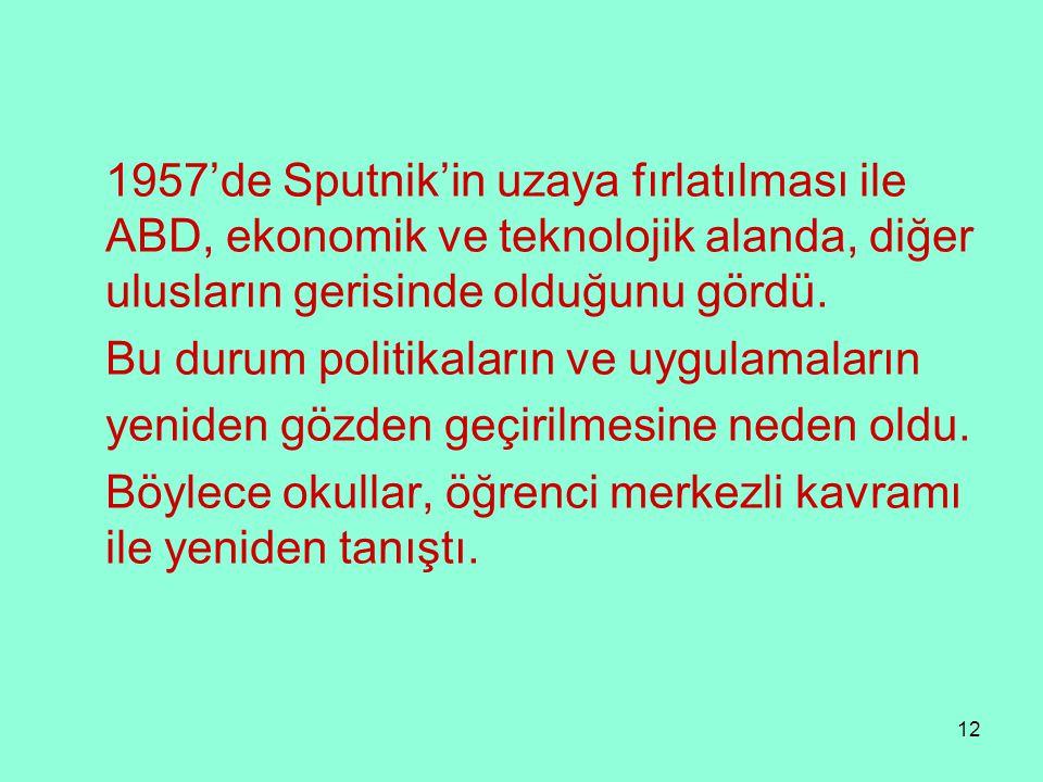 1957'de Sputnik'in uzaya fırlatılması ile ABD, ekonomik ve teknolojik alanda, diğer ulusların gerisinde olduğunu gördü.