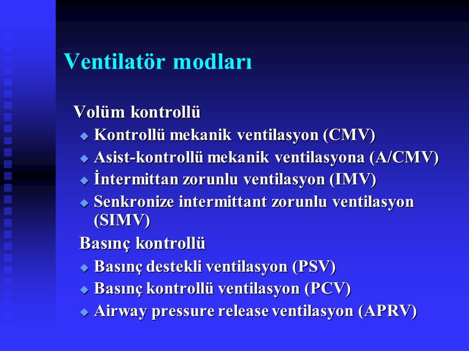 Ventilatör modları Volüm kontrollü Basınç kontrollü