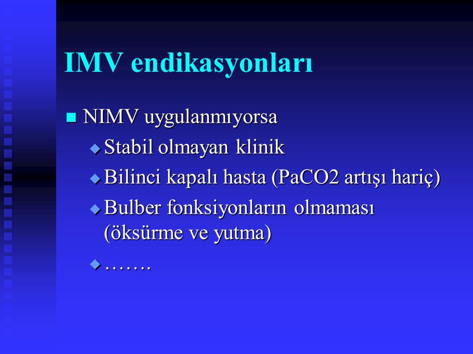IMV endikasyonları NIMV uygulanmıyorsa Stabil olmayan klinik