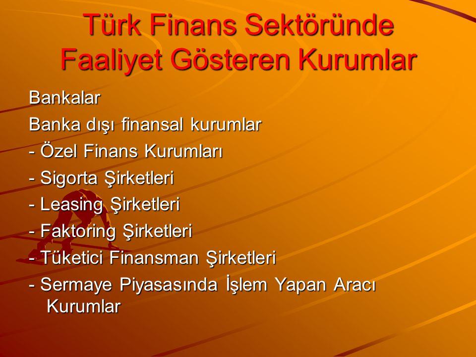 Türk Finans Sektöründe Faaliyet Gösteren Kurumlar