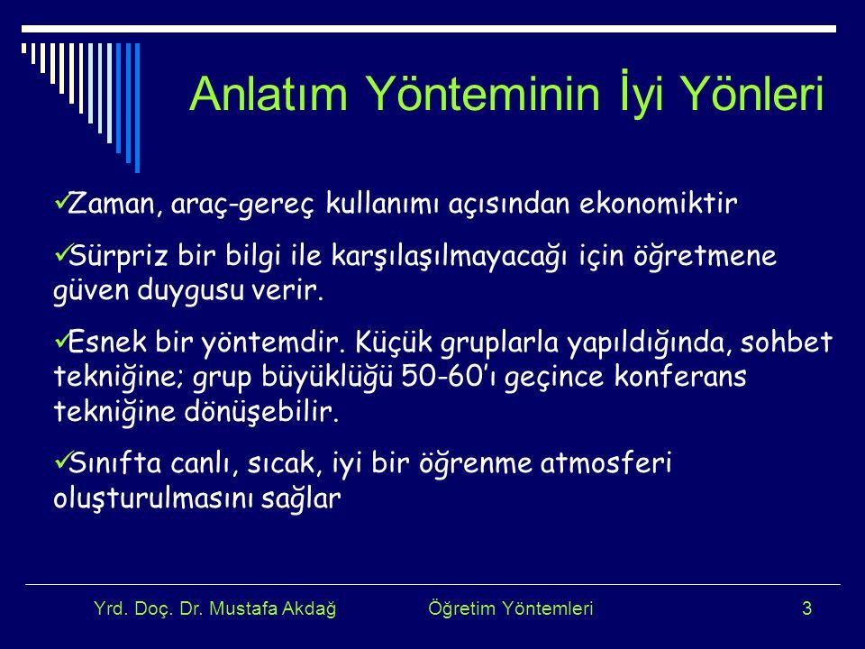 Yrd. Doç. Dr. Mustafa Akdağ Öğretim Yöntemleri