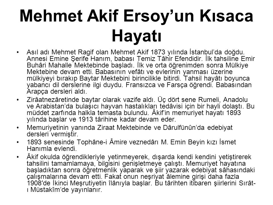 Mehmet Akif Ersoy'un Kısaca Hayatı