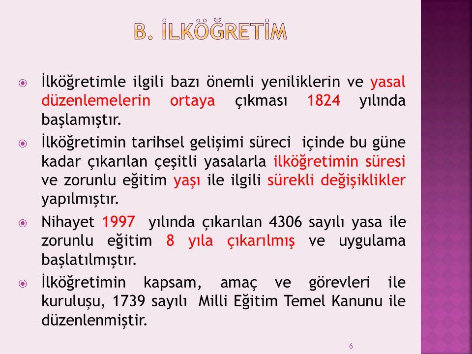 B. İlköğretİm İlköğretimle ilgili bazı önemli yeniliklerin ve yasal düzenlemelerin ortaya çıkması 1824 yılında başlamıştır.