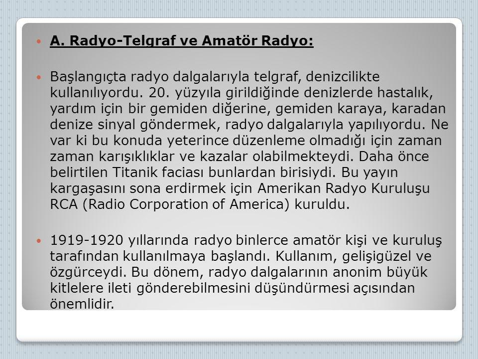 A. Radyo-Telgraf ve Amatör Radyo: