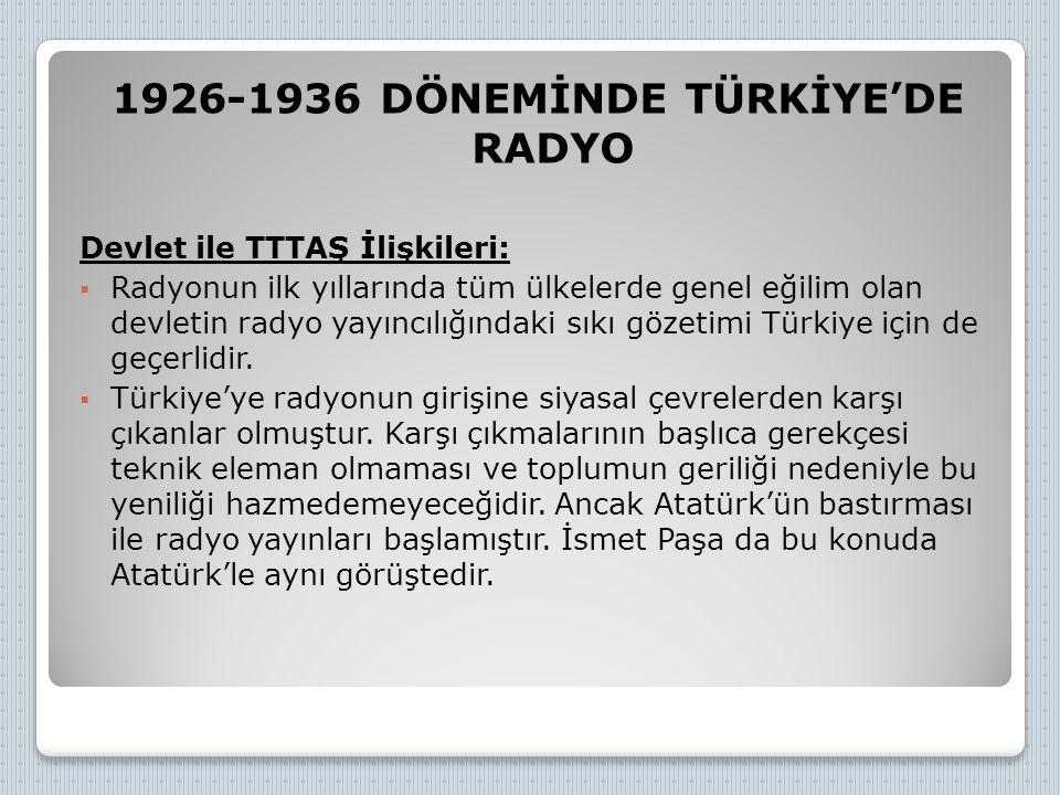 1926-1936 DÖNEMİNDE TÜRKİYE'DE RADYO