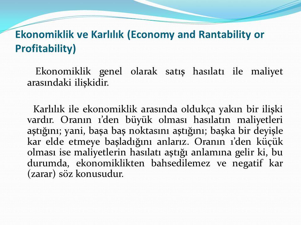 Ekonomiklik ve Karlılık (Economy and Rantability or Profitability)