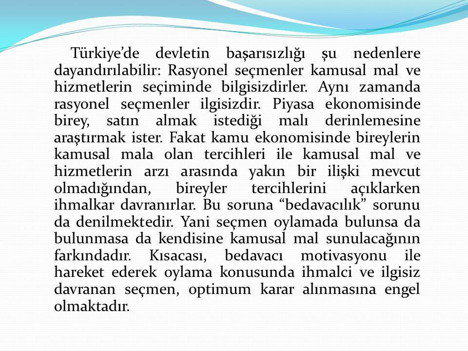 Türkiye'de devletin başarısızlığı şu nedenlere dayandırılabilir: Rasyonel seçmenler kamusal mal ve hizmetlerin seçiminde bilgisizdirler.