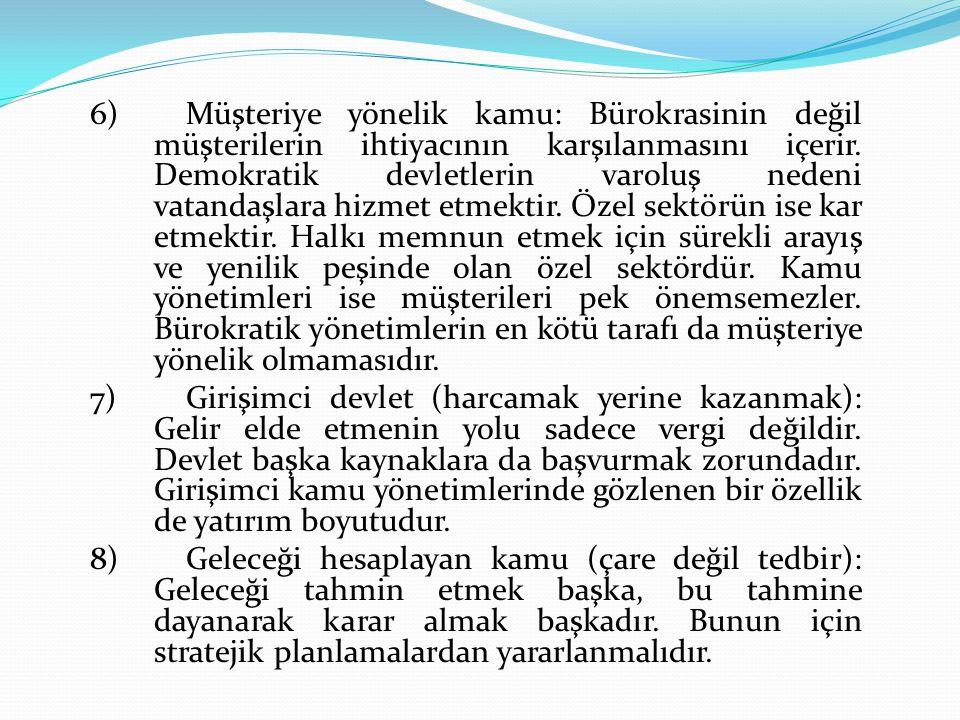 6) Müşteriye yönelik kamu: Bürokrasinin değil müşterilerin ihtiyacının karşılanmasını içerir.