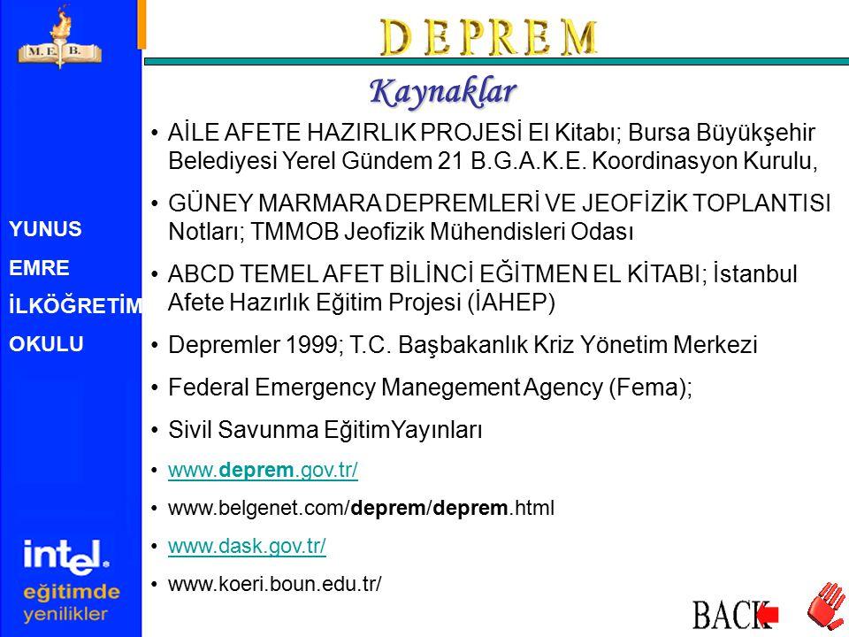 Kaynaklar AİLE AFETE HAZIRLIK PROJESİ El Kitabı; Bursa Büyükşehir Belediyesi Yerel Gündem 21 B.G.A.K.E. Koordinasyon Kurulu,