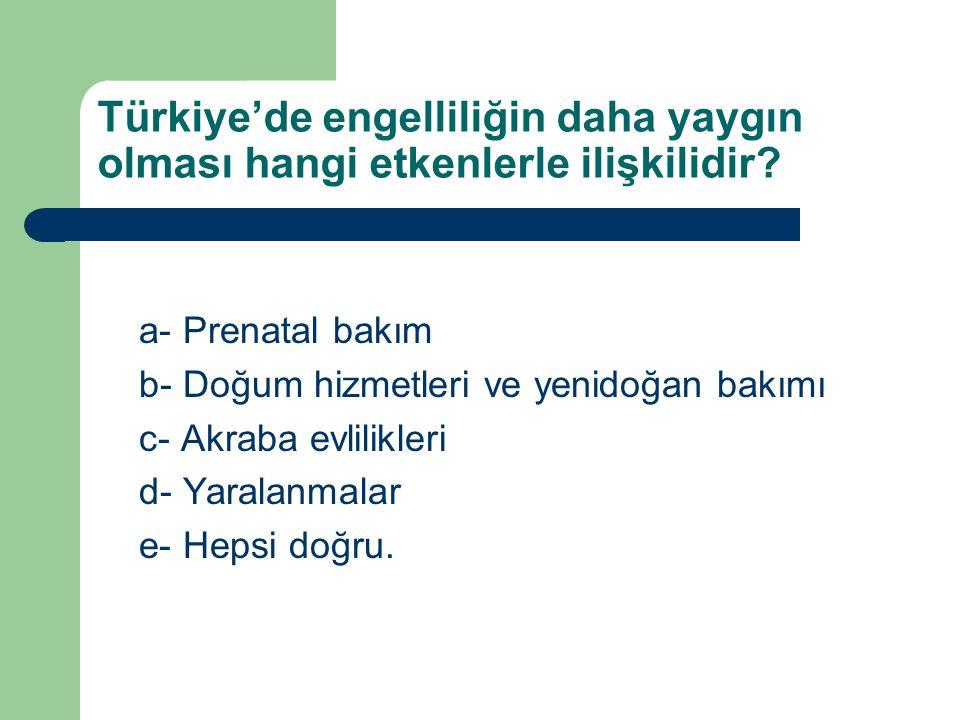 Türkiye'de engelliliğin daha yaygın olması hangi etkenlerle ilişkilidir